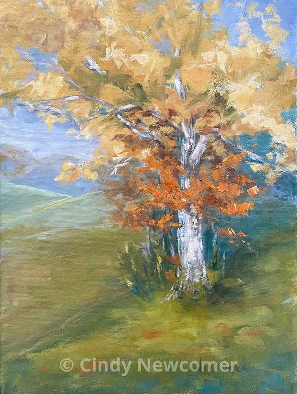 Oil Painting, Sycamore Tree, Fall Colors, Autumn, Grass - A sycamore tree in all its splendor provided this focal pointed.