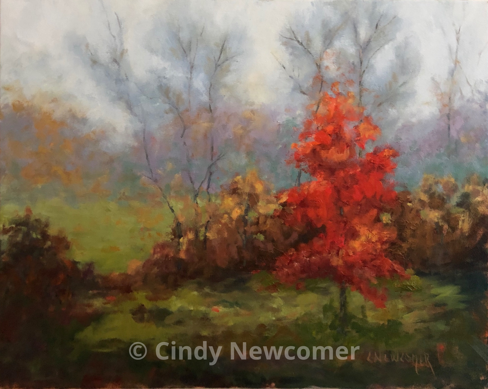 Oil Painting, Showstopper - 16x20 gallery wrapped canvas 1025.00 Fall in the Midwest! I stumbled across this beauty and the contrast between the various grays and the red maple was an image I had to capture!