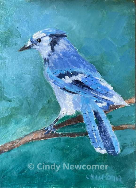 Oil Painting, bird art, blue jay, blue and green, oil painting