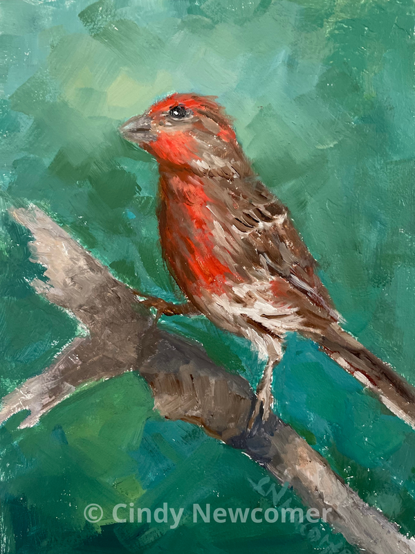 oil painting, bird art, red and brown bird, greens