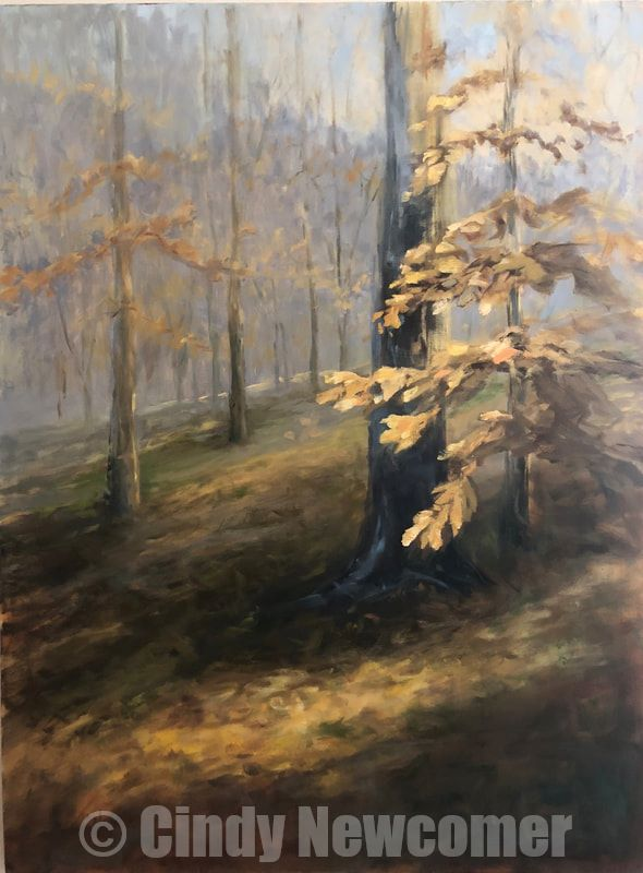 Oil Painting, fall, autumn, trees, nature art, leaves, yellow ocher, brown Oil on canvas framed in dark stained floater frame painted in hues of rich yellows and browns with an under painting of yellow ochers, this piece evokes a dreamy ethereal warm fall day