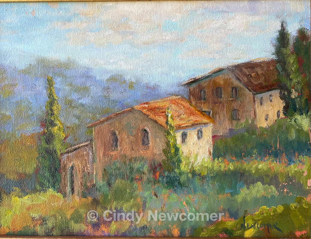 Oil Painting, Italy, Tuscan Countryside, Landscape, Wall Hanging, Wall Art, Villa, This was the view from our little Inn during a trip to the tuscan countryside