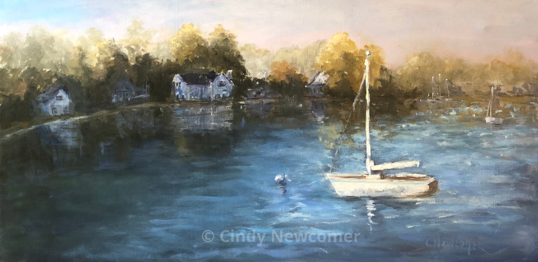 Oil Painting, The bay, boat, boats, sunshine, houses on water, trees,
