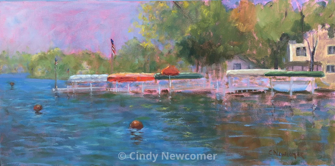 Oil Painting, Umbrellas, Lake Wawasee, Docks, Lakes, Lake Art, Wall Art, Cottage Art, Boats A view of a lake shore during the hot summer heat. My goal was to capture the heat almost vibrating off the water and heightening the colors of the cottages, umbrellas and all colors around the water.