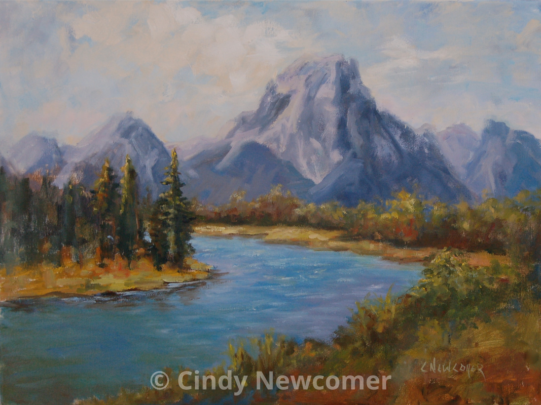 Oil Painting, Grand Teton National Park , Mountains, River, Trees, Wall Art, Wall Hanging - A very often painted scene of these majestic mountains. It nonetheless always remains a challenge and joy to paint