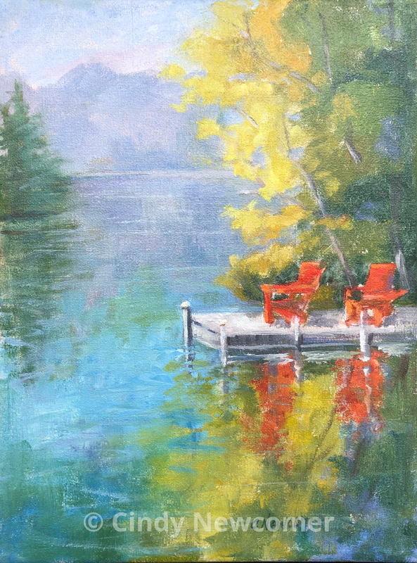 Oil Painting, Adirondack Chairs 9x12 oil/canvas floater frame ready to hang Two red Adirondack chairs on Mirror lake provided the perfect focal point to the peaceful lake.